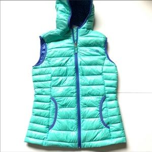 Free country puffer vest hood blue teal large